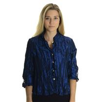 12 NWT Joseph Ribkoff Navy Blue Taffeta Sparkle Button Up Ruffle Trim Blouse Top