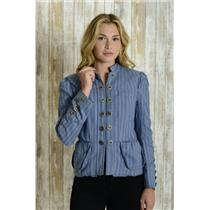 Sz 8 Marc Jacobs Blue Stripe Double Button Scalloped Ruffle Trim Military Blazer