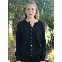 L Banana Republic Black Cotton/Cashmere Long Sleeve Button Front Knit Cardigan