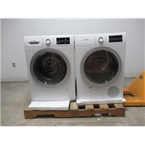 """Bosch 500 Series 24"""" Front Load Washer & Dryer SET+ Stacking Kit White/Silver"""