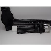 Wenger Watch Band 72325 Black 20mm Double Padded Rows w/ Throne. Steel Logo Bkl
