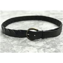 Sz 36 Hyde Collection Black Puzzle Fit Smooth Leather Belt w/ Round Brass Buckle
