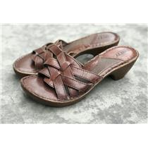 """Sz 6/36.5 Born Leather Open Toe Brown Strappy Slide Sandals 2"""" Wedge Heels"""