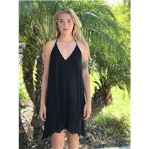 S Intimately Free People Black Easy Livin Slip Strappy Lace Embroidered Dress