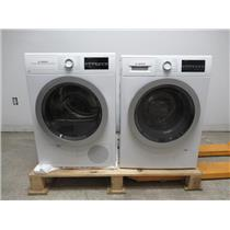"Bosch 500 Series 24"" Front Load Washer & Dryer SET+ Stacking Kit White/Silver (10)"