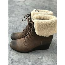 NEW 9 UGG Australia Zea Leather Uptown Sherpa Brown Coated Suede Wedged Bootie