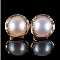 14k Yellow Gold Round Dome Cut Cultured Pearl Solitaire Stud Earrings