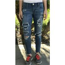 10 American Eagle Outfitters Medium Wash Super Low Stretch Distressed Jeggings