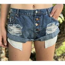 31 One Teaspoon Medium Wash Bandit Rolled Hem Button Fly Distressed Denim Shorts
