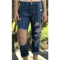 Sz 10 Abercrombie & Fitch Medium Wash Distressed Cropped Cotton Boyfriend Jeans