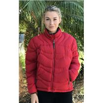 M REI Red Zip Front Puffer Jacket 100% Polyester Shell & Lining Goose Down Fill