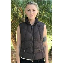 4 add Brown Cozy Goose Down Puffer Full Zip Front Vest w/Pockets 100% Polyamide