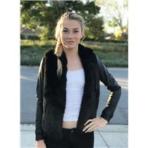 NEW XS Tart Collections Stacy Black Faux Fur Jacket Vegan Leather Sleeves T9427