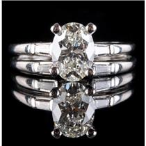Stunning Platinum Oval Cut Diamond Engagement / Wedding Ring Set 1.98ctw