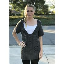 Sz S Banana Republic Grey Pointelle Cable Knit Tunic Sweater Wool Blend 784076