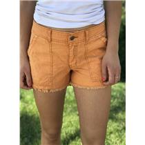 Sz 4 Free People Orange Flat Front Cotton Shorts w/Raw Hem & Rear Snap Pockets