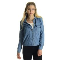 NWT XS Roxy Women's Fair View Long Sleeve Button Down Peacoat Wash Denim Shirt