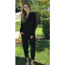 Sz S Splendid Black Ankle Zipper Button Down Waist Tie Chelsea Voile Jumpsuit