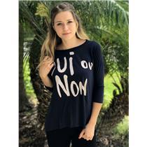 1/S Sundry Navy Blue Oui ou Non Print Dolman Half Sleeve Soft Jersey Knit Tunic