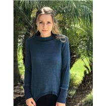 S Postmark Anthropologie Blue Knit w Metallic Long Sleeve Funnel Neck Sweater