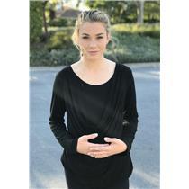 L Motherhood Maternity Nursingwear Black Jersey Long Sleeve Layered Cowl Neck
