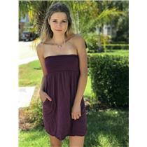 Petite Velvet by Graham & Spencer Burgundy Strapless 100% Cotton Dress USA MADE