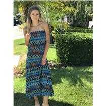 XS Veronica M. Blue Green Orange Bright Printed Strapless Drop Waist SOFT Dress