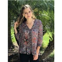 Sz S Joie 'Mesa' Multi-Colored 100% Silk Sheer Paisley Print Blouse H10-20729