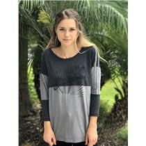 S We The Free People Dark & Light Gray Long Sleeve Cotton Blend Graphic Shirt
