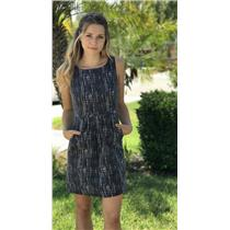 2 J. Crew Dark Gray & White Print Sleeveless 100% Cotton Fully Lined Dress 37840