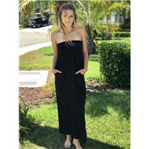 P Velvet by Graham and Spencer Black Strapless Long 100% Cotton Dress USA MADE