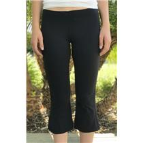 8 Lululemon Jet Black Capri Length Workout Pants Drawstring Waist Split Hem Leg