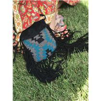 Cleobella X UO Black Suede Tribal Design Beaded Front Fold Over Crossbody Bag