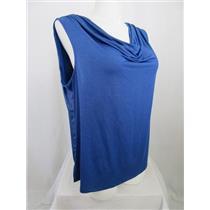 INC International Concepts Woman 3X Blue Shimmering Sleeveless Drape Neck Top