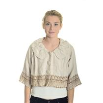 S NWT Glam Vintage Soul Crop Swing Jacket Natural Tan/Brown Scalloped 3/4 Sleeve