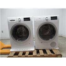 "Bosch 500 Series 24"" Front Load Washer & Dryer SET+ Stacking Kit White/Silver"