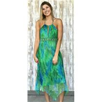 Sz 6 Laundry by Shelli Segal Peacock Green/Blue Silk Halter Dress Beaded Waist