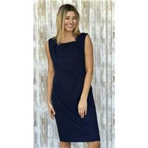 6 Tahari Navy Blue Ponte Knit Sleeveless Sheath Dress Square Neck Tailored Fit