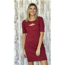 Sz 4 Cynthia Steffe Keyhole Front Short Sleeve Knit Cocktail Dress Burgundy Red