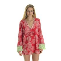 S NEW HIHO V-Neck KURTA Voile Cotton Bell Sleeve Beach Cover Up Punch Red Rope