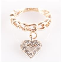 14k Yellow & White Gold Two-Tone Round Cut Diamond Heart Charm Ring .20ctw