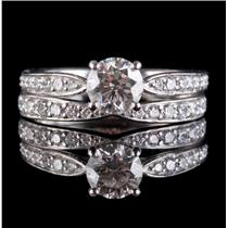 Tiffany & Co Platinum Round Cut Diamond Engagement / Wedding Ring Set .955ctw