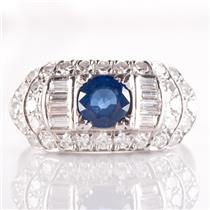 Vintage 1930's 18k White Gold Round Cut Sapphire & Diamond Cocktail Ring 2.07ctw