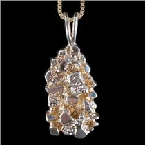 "14k Yellow Gold Nugget Style Solitaire Pendant W/ 24"" Chain 10.3g"
