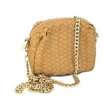 NWT Neiman Marcus Brown Leather Woven Crossbody Bag/Purse Gold Removable Strap