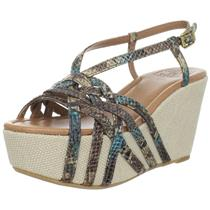NIB Sz 9.5 Lucky Brand Stacey Wedge Sandal in Washed Wold Summer Washed Python