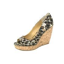 NIB 9 Nine West Wild Thing Tan Multi Cheetah Print Open Toe Cork Wedge Platform