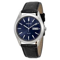 Seiko SNE049 Mens Solar Day/Date Black Leather Watch w/Steel Case.Glass Crystal
