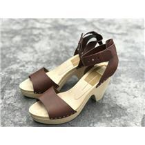 "Sz 10 Dolce Vita Brown Leather Platform Sandals Wooden Sole 4"" Heel Ankle Strap"