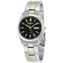 Seiko Watch SNE047 Mens Solar Day/Date. Two Tone Bracelet. Steel w/Glass Crystal
